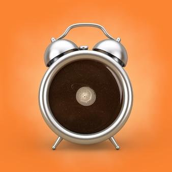 コーヒーブレイクコンセプト。オレンジ色の背景に目覚まし時計としてコーヒーカップ。 3dレンダリング