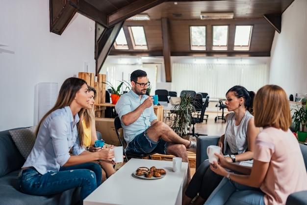 Coffee break. friends talking.