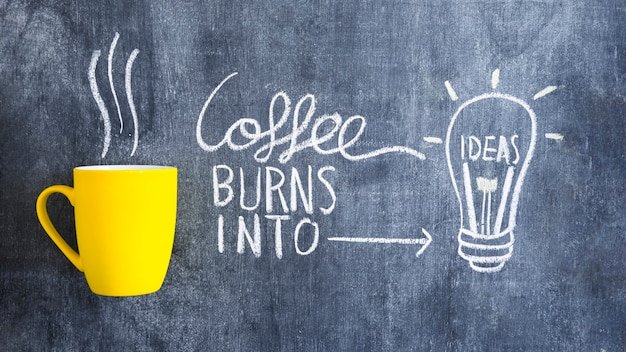 Coffee burns into idea light bulb drawn with chalk on chalkboard