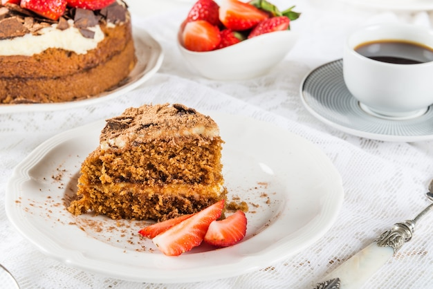 Coffee cake, strawberries and coffee