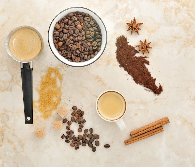 Coffee, cane sugar, spice anise and cinnamon