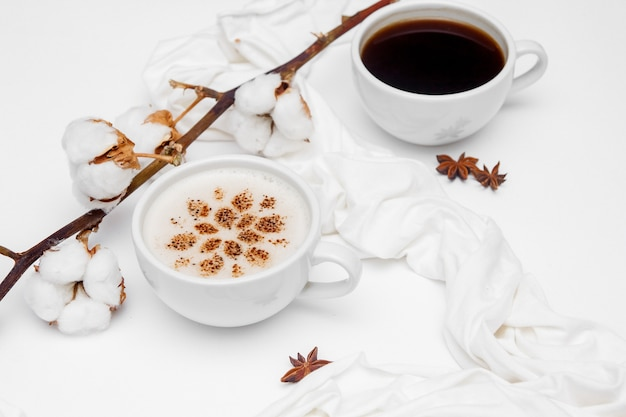 Coffee cappuccino with cinnamon and anise stars on white background.