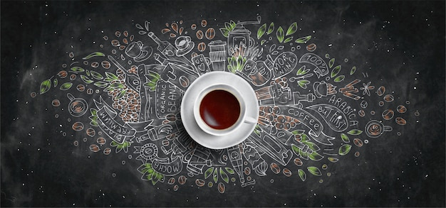 Coffee chalk illustrated concept on black board background - white coffee cup, top view with chalk doodle illustration of coffee, beans, morning, espresso in cafe, breakfast. hand draw chalk concept.