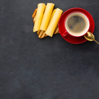 Coffee and cheese sandwich
