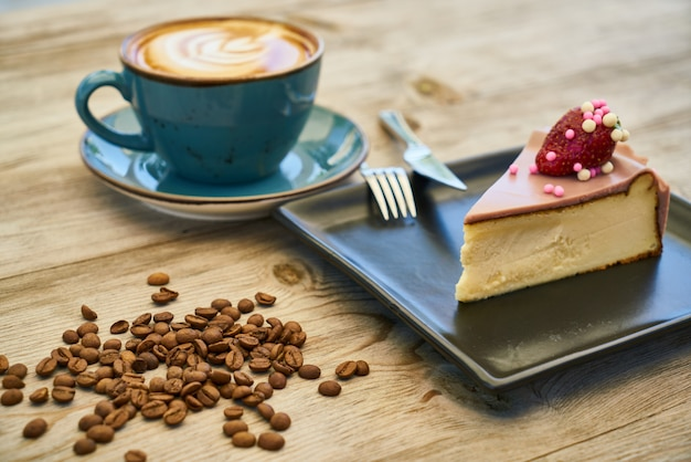 Coffee, cheesecake and cofee beans