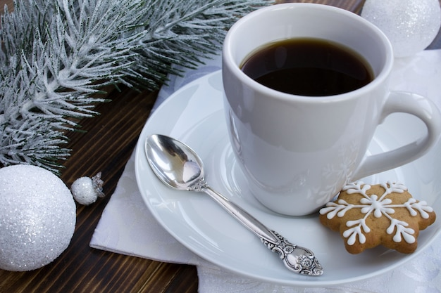 Coffee and christmas composition on the wooden background