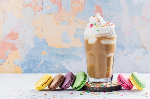 Coffee cocktail and macaroons