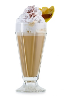 Coffee cocktail with cream (frappuccino) with fruits and spices isolated