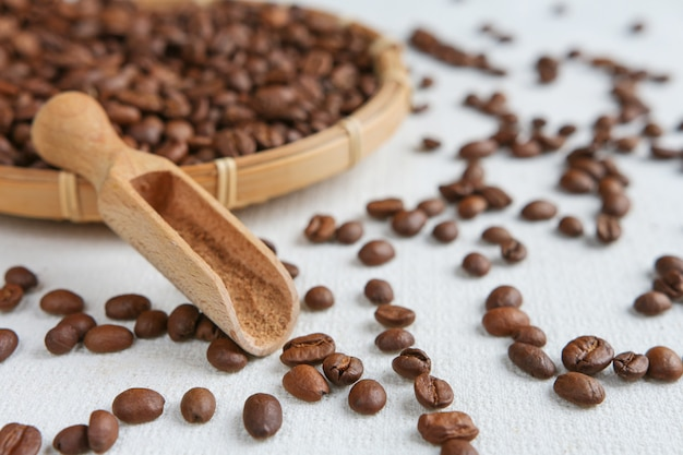 Coffee and coffee beans closeup
