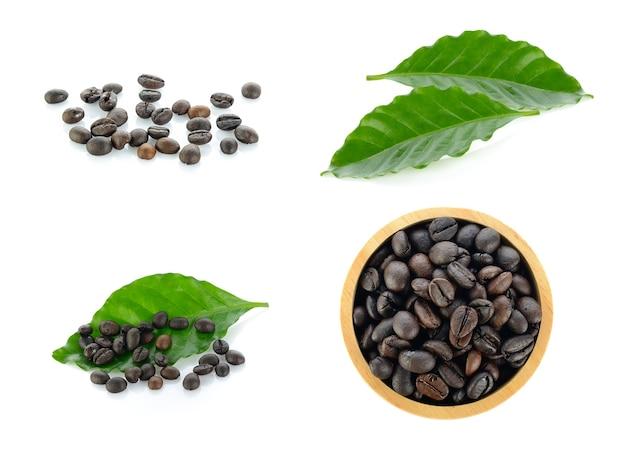 黒い表面に分離されたコーヒーコレクション。