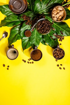 Coffee composition on yellow table
