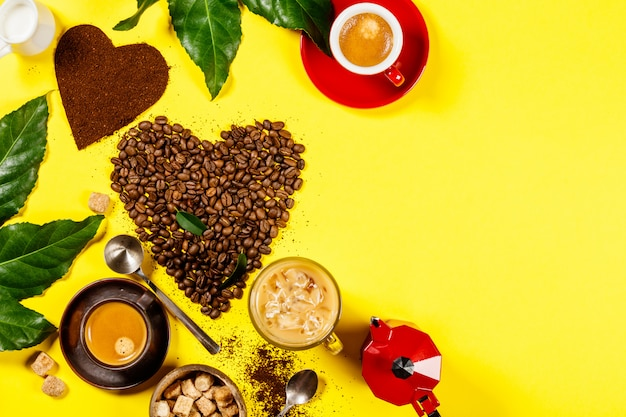 Coffee composition on yellow