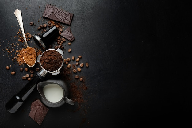 Coffee concept with coffee beans, chocolate and coffee espresso