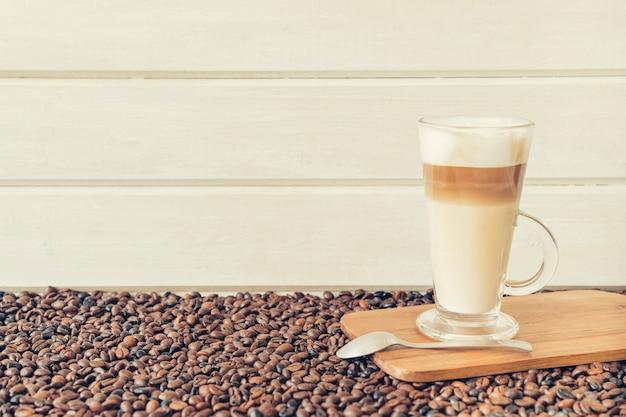Coffee concept with latte macchiato