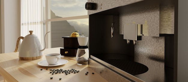 Coffee corner with distressed window frame. 3d render.