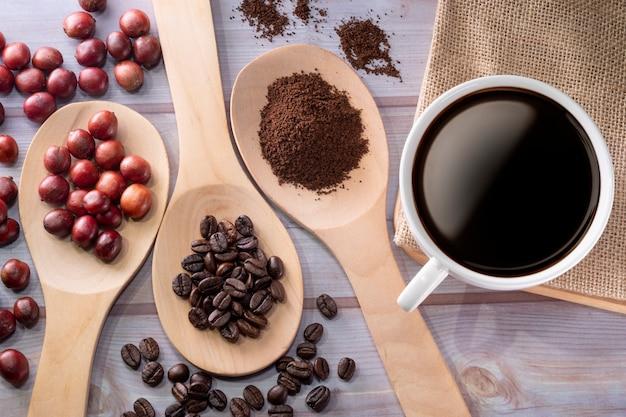 커피 컵과 커피 체리