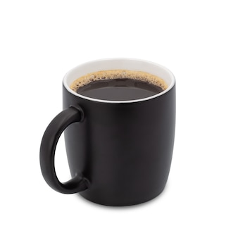 Coffee cup, black cup of black coffee isolated on white background. with clipping path.