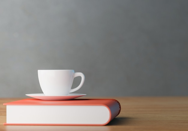 Coffee cup and books on wooden table