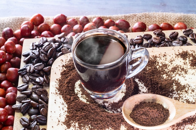Coffee cup and coffee beans coffee cherries