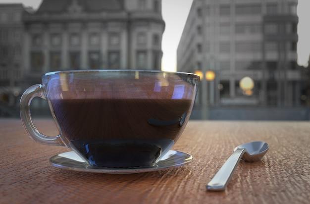 Coffee cup in coffee shop - vintage style. 3d rendering