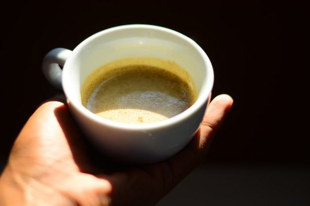 Coffee cup on giving hand