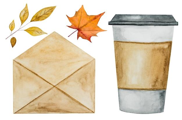 コーヒーカップ、葉、封筒