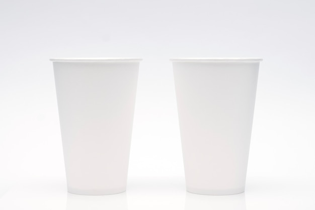 Coffee cup mockup on white background. copy space for text and logo.
