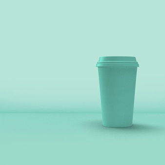 Coffee cup packaging on blue background