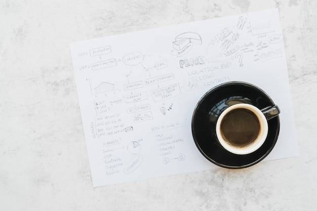 Coffee cup on paper with business plan brainstorming