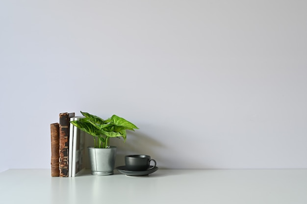 Coffee cup, plant and books on workspace with office desk copy space.