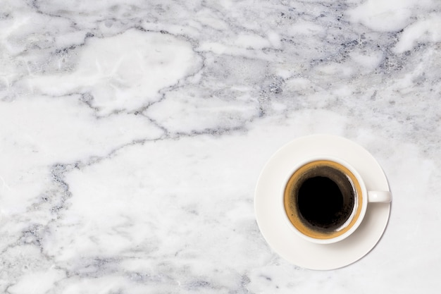 Coffee cup, top view of coffee cup on marble table