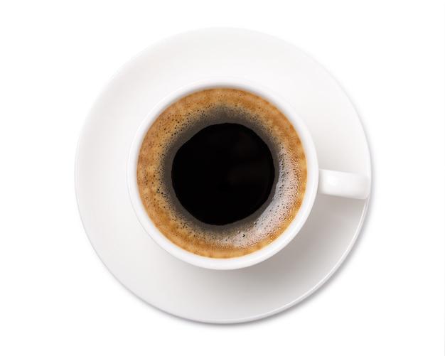ホワイトスペースに分離されたコーヒーカップのトップビュー。