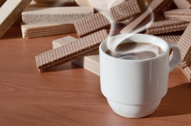 Coffee cup and waffels