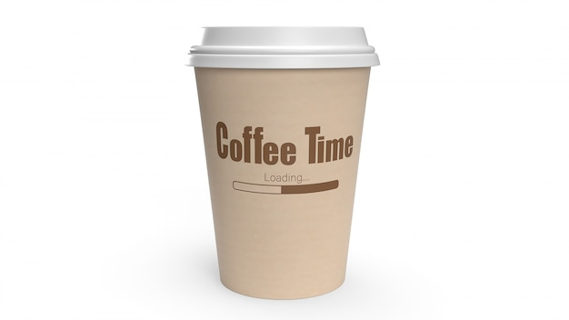 Coffee cup on white 3d rendering