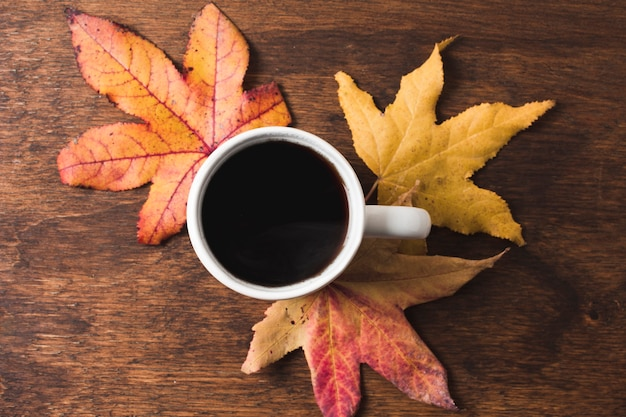 Coffee cup with autumn leaves on wooden background