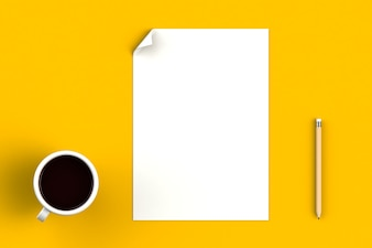 Coffee cup with blank paper on yellow background