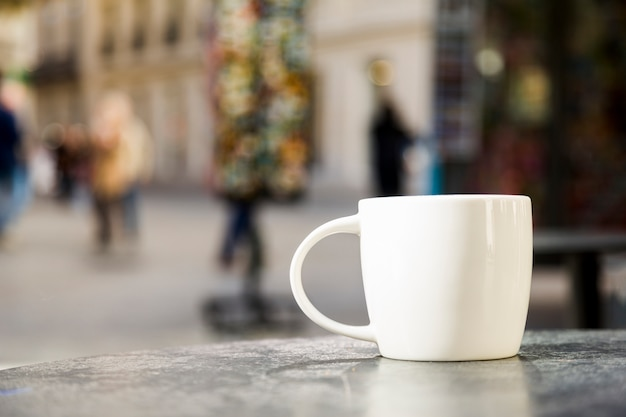 Coffee cup with blurred background