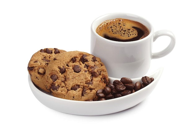 Coffee cup with chocolate cookies on white background