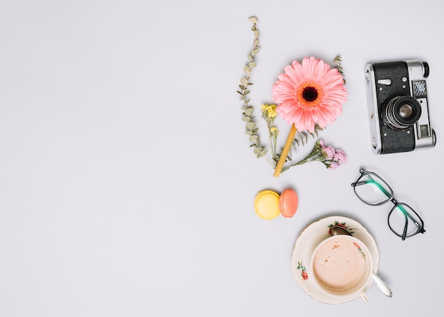 Coffee cup with flower bud, camera and glasses