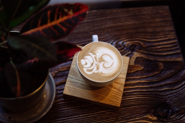 Coffee cup with latte art next to interior plant