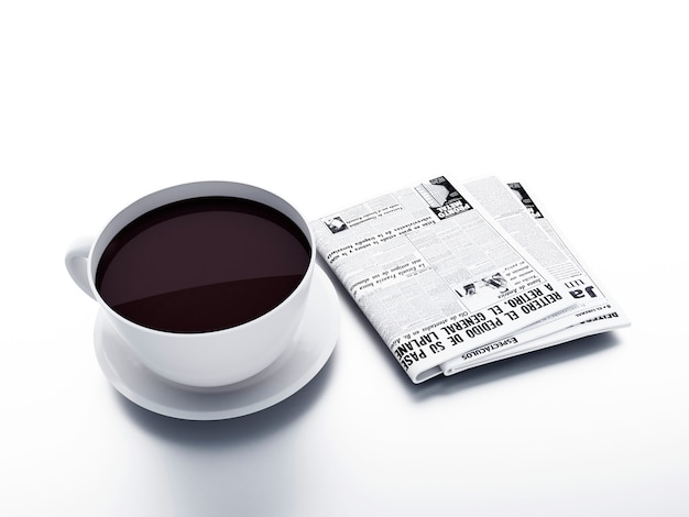 Coffee cup with newspaper on white isolated background. morning news concept