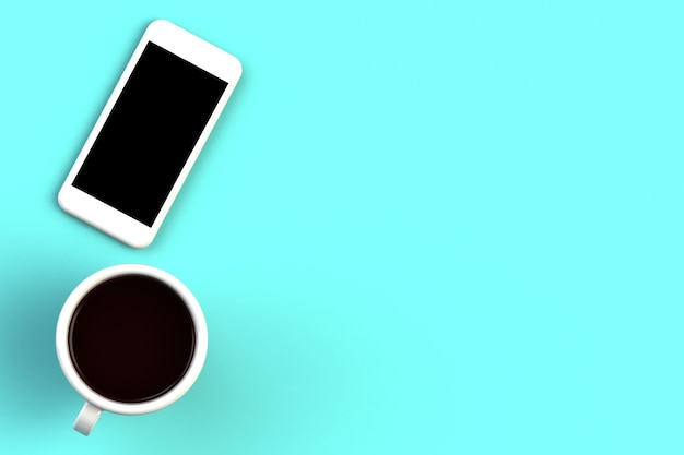 Coffee cup with smart phone on blue background, top view with copyspace for your text, 3d rendering