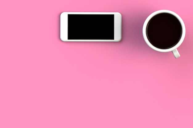 Coffee cup with smart phone on pink background, top view with copyspace for your text, 3d rendering