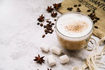 Coffee cup with star anise; marshmallow; and coffee beans on white background