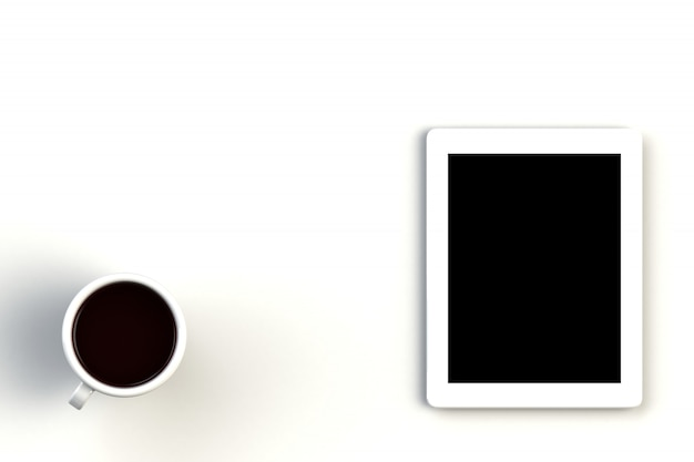 Coffee cup with tablet on white background