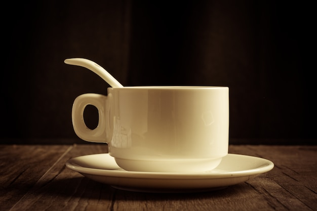 Coffee cup with teaspoon and saucer