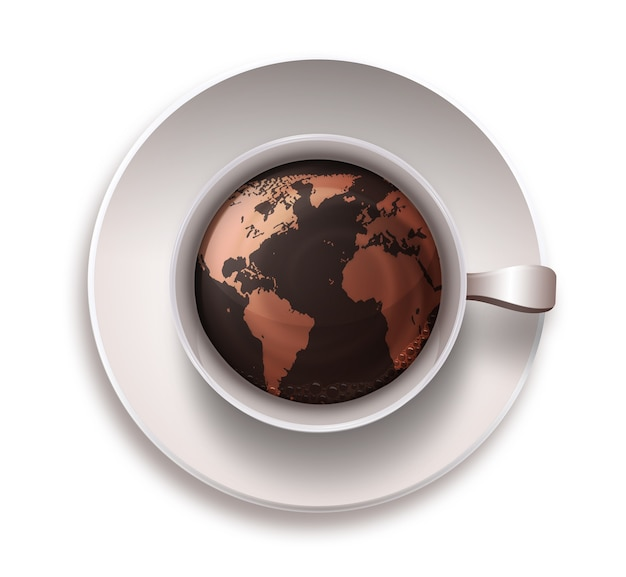 Coffee cup with a world map on a white background
