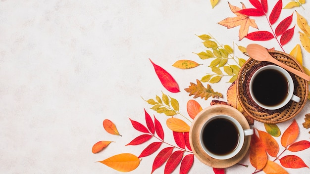 Coffee cups and colorful autumn leaves copy space