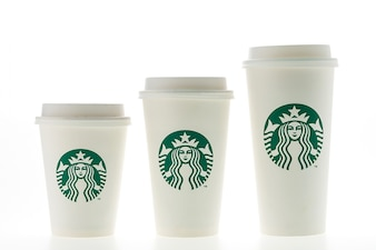 Coffee cups of different sizes without straw
