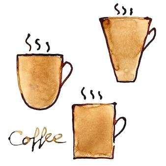 실제 커피로 그린 커피 컵